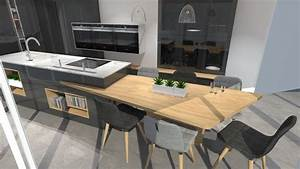 cuisine moderne avec ilot phenix gris anthracite et bois With cuisine avec ilot table