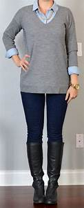 Outfit post grey tunic sweater light chambray shirt rockstar skinny jeans black riding boots ...