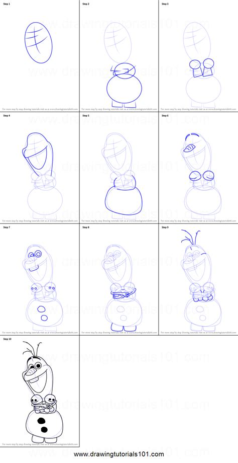 draw olaf  frozen fever printable step  step