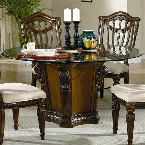glass top dining tables  wood base decor ideas
