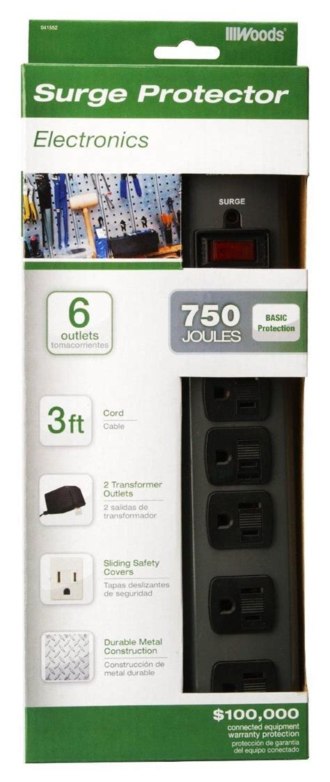 protector surge woods outlet protection metal joules cord foot