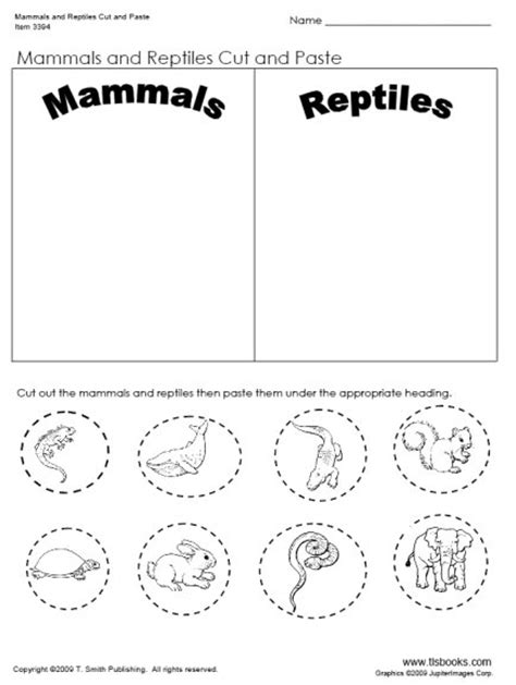 mammals and reptiles cut and paste worksheet