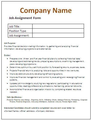 assignment form  printable documents