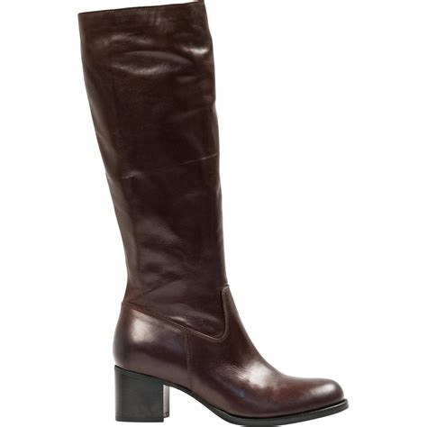 sandra dark brown moro nappa leather classic knee high