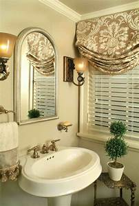 Pretty traditional bathroom window treatments for Curtains that look like roman shades