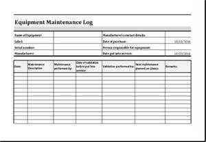 Log Sheet Template Excel Equipment Maintenance Log Template Ms Excel Excel Templates