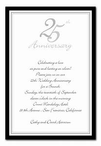 25th wedding anniversary invitation examples mini bridal for Sample of silver wedding anniversary invitation