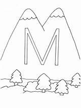 Coloring Mountain Mountains Sheet sketch template