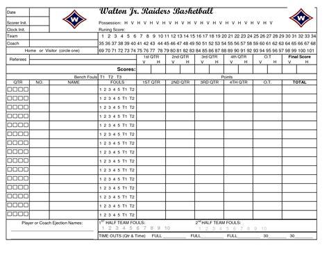 basketball scorebook sheet excel  basketball scores info
