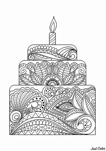 Coloring Cake Cakes Pages Cup Adult Leafs