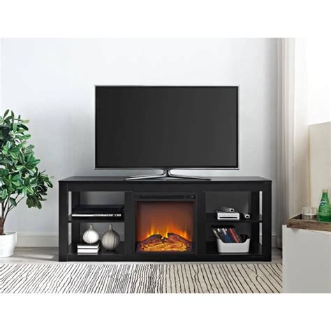 black electric fireplace tv stand ameriwood home parsons electric fireplace tv stand for tvs