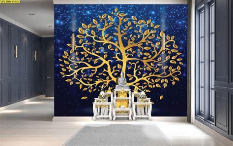 วอลเปเปอร์ ลายไทยต้นโพธิ์ทอง พื้นหลังสีน้ำเงิน