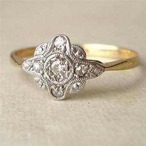 art deco engagement ring antique diamond ring diamond 9k With antique diamond wedding ring