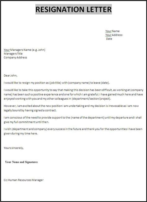 template  resignation letter  word