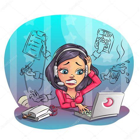 stock bureau direct entreprise de dessin animé femme travailler dur au bureau