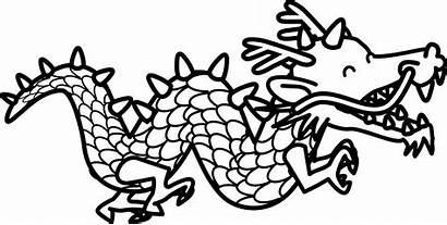 Dragon Chinese Clipart Line Tail Coloring Colouring