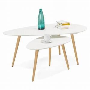 Table Basse Scandinave Gigogne : tables basses design ovales gigognes golda en bois et ch ne massif blanc ~ Teatrodelosmanantiales.com Idées de Décoration