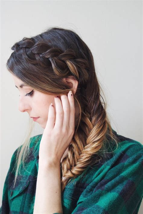 easy diy dutch braid   fishtail hairstyle styleoholic
