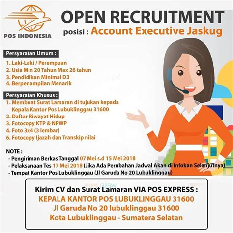 Tersedia lowongan kerja bagi lulusan smp, sma, smk, d3, s1. Lowongan Kerja PT Pos Indonesia (Kantor Pos Lubuklinggau ...