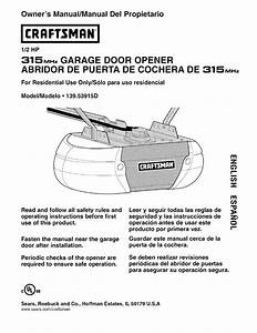 Sears Garage Door Opener 139 53915d User Guide