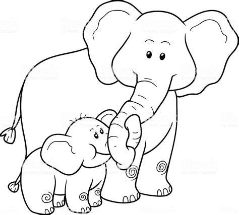 coloring book  children elephants stock illustration