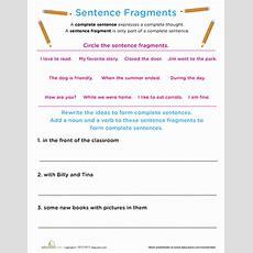 Work On Writing Sentence Fragments  Worksheet Educationcom