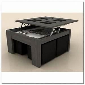 Table Basse 4 Poufs : table basse plateau relevable xl gris 4 poufs incrustables noirs achat vente table basse ~ Teatrodelosmanantiales.com Idées de Décoration