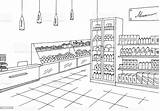 Sketch Illustration Grocery Vector Interior Graphic Drawing Supermarket Clipart Outline Shopping Clip Cartoon Business Coloring Pages Line Aisle Shelf Illustrations sketch template
