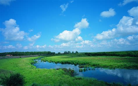 blue landscape scenery wallpaper