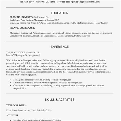 Business Management Resume Exles by Entry Level Management Resume Exle And Writing Tips