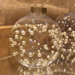 pearl wired christmas ornaments rustic chic ornaments these clear wired pearl filled hemp