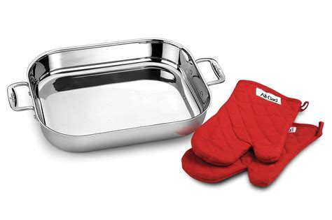 all clad roasting pan lid all clad stainless steel lasagna pan with oven mitts