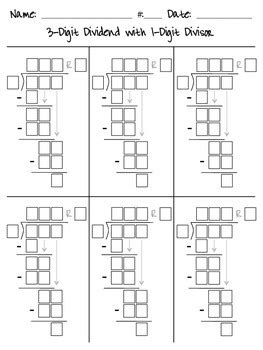 division worksheets with boxes division guide boxes by ben k teachers pay teachers