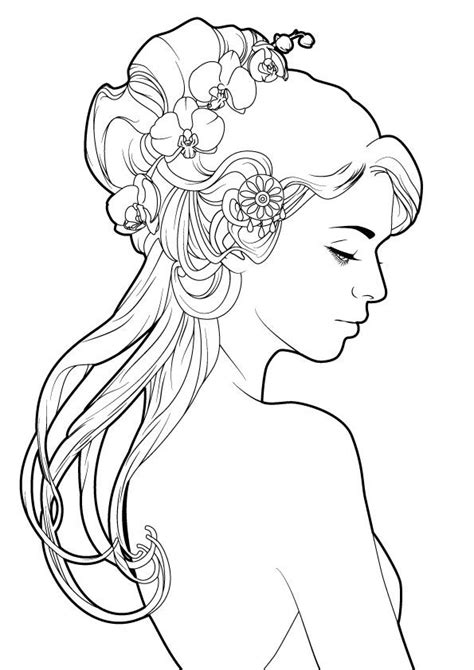 simply nouveau by elimak on DeviantArt   Mermaid coloring pages, Line art, Art