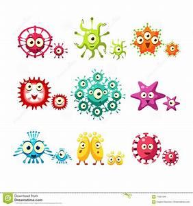Bacteria And Virus Fun Set stock vector. Illustration of ...
