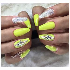 Neon Yellow Coffin Nails Nail Art Gallery
