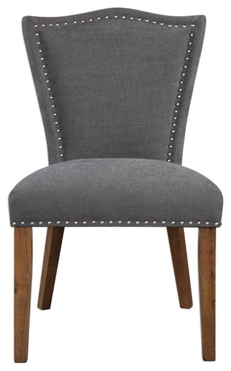 studded gray nailhead trim side chair dining accent
