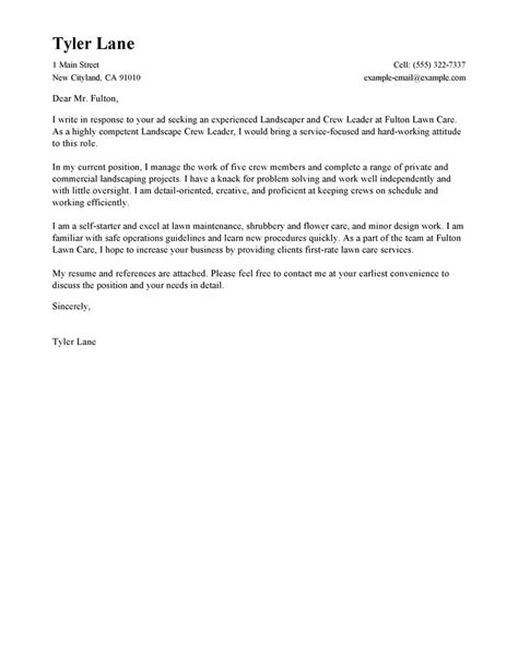 Landscaping Resume Cover Letter by Landscaping Cover Letter Exles Agriculture