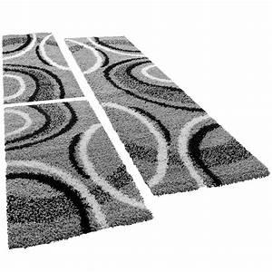 Teppich Bettumrandung 3 Teilig : shaggy l ufer bettumrandung hochflor teppich vigo gemustert grau schwarz 3er set hochflor teppich ~ Bigdaddyawards.com Haus und Dekorationen