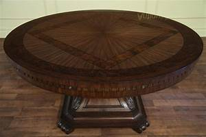 large round mahogany and walnut perimeter table With round dining room tables with leaf