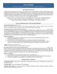 resume of investment banker investment investment banking associate sle resume