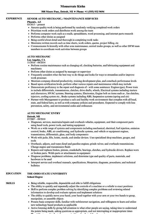 Auto Mechanic Resume by Auto Mechanic Resume Sles Velvet