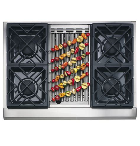 zgunrhss ge monogram  professional gas cooktop   burners  grill natural gas