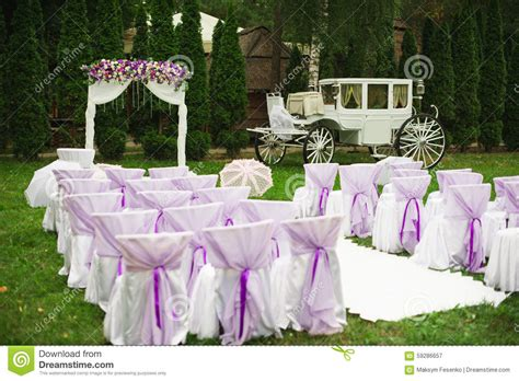 Wedding Decorations In White And Purple Stock Image