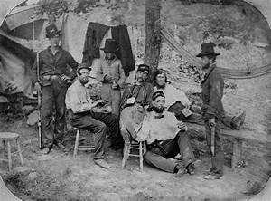 Union Soldiers of Mott's Artillery Smoking and Drinking in ...