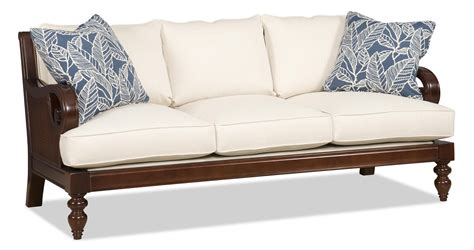 Wood Settee Furniture by Tropical Sofa With Exposed Wood And Scrolled Arms This