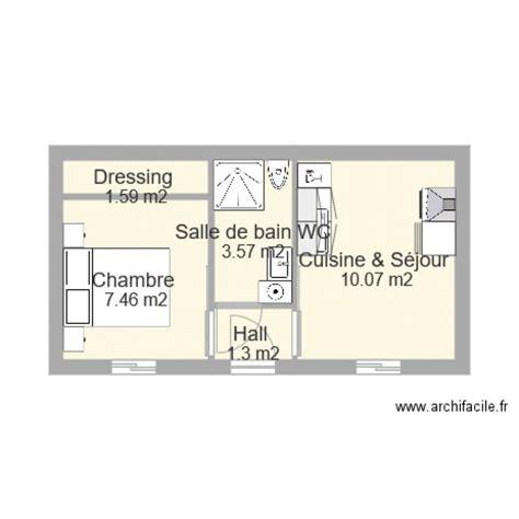 croquis cuisine studio 25m2 plan 5 pièces 24 m2 dessiné par leblanc2002