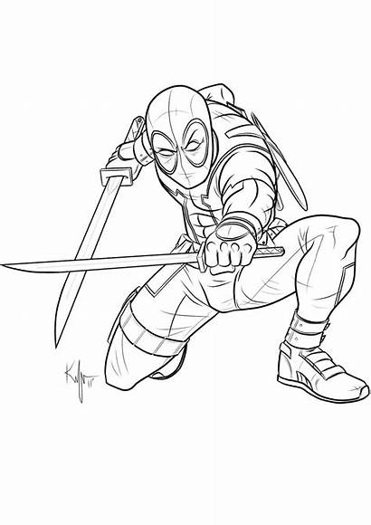 Deadpool Coloring Pages Coloriage Drawing Kaufee Uncanny
