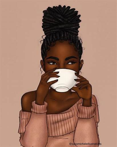 African Natural Negras American Locs Lattes Painting