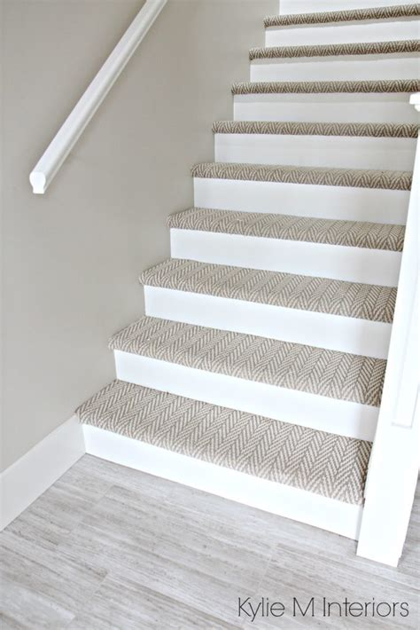 Popular Neutral Paint Colors For Living Rooms by Stairs With Carpet Herringbone Treads And Painted White